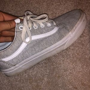 Light grey and white striped vans